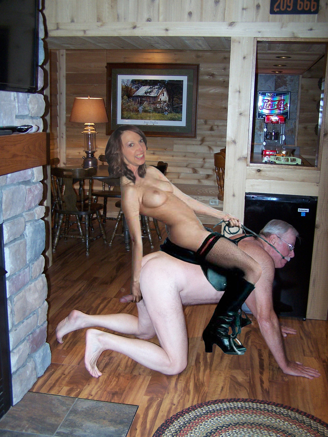 Mistress Kate loves to play jockey. If I don't perform to her satisfaction she grabs me by the cock and balls and starts squeezing and pulling them forcing me to crawl and buck for her!