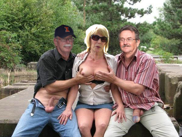 Paul and Jim feeling his wife Shelley's tits
